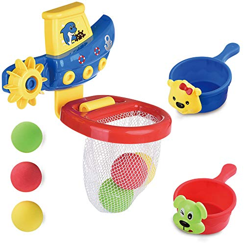 ReechTree Bathtub Basketball Hoop Bath Toy for Toddlers and Kids 1 2 3 Years Old, Bathtub Toy Pirate Boat with Propeller, 3 Colorful Balls, 2 Stuck Cups, Best Gifts for Boys or Girls Birthday