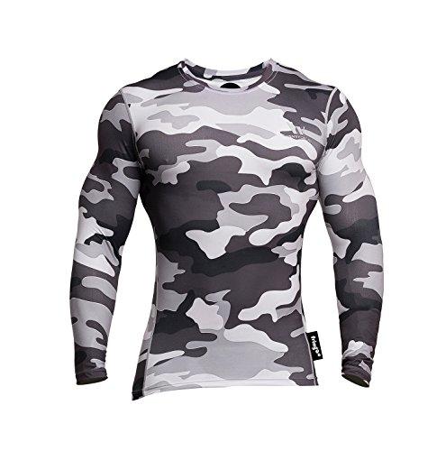 Fringoo Langärmeliges Kompressions-Shirt für Herren, zum Trainieren, Thermo-T-Shirt, enganliegend, Rundhals-Ausschnitt, Unterhemd Gr. M, Camo Grey - Top