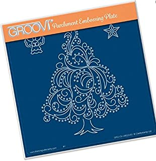 Groovi Parchment Embossing Plate - Christmas Tree Angel & Star A5 - Laser Etched Acrylic for Parchment Craft
