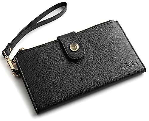 RFID-blockierende börse für Damen | Organizer für mehrere Karten mit Reißverschlusstaschen und Handgelenkschlaufe, Schwarzes Saffiano (Schwarz) - NA