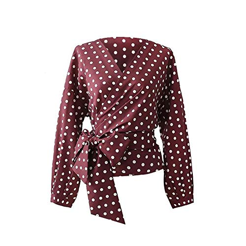 Cnsdy Dameshemden Temperament Wild Bow Decoratie Polka Dot Shirt Kimono Top V-hals Shirt