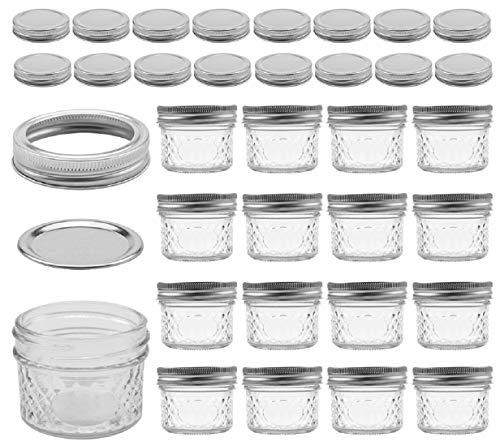 Tebery Paquete de 16 tarros Mason para latas de 4 onzas con tapas y bandas regulares, 16 tapas extra 40 etiquetas de pizarra incluidas