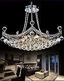 A Million Modern Crystal Chandelier Luxury Ship Design 25' Silver Pendant 6-Light Ceiling Light Fixture for Living Room Bedroom Restaurant Kitchen Island, E12 Socket