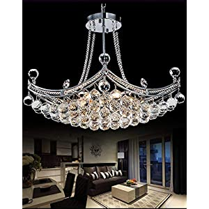 "A Million Modern Crystal Chandelier Luxury Ship Design 25"" Silver Pendant 6-Light Ceiling Light Fixture for Living Room Bedroom Restaurant Kitchen Island, E12 Socket"
