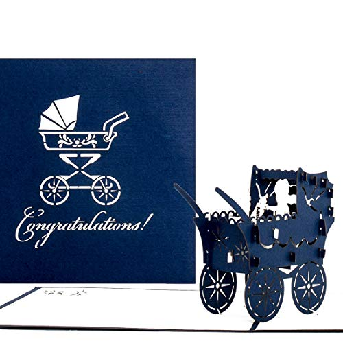 3D Birth Card Baby Boy – Pop Up Greeting & Congratulations Cards for the first birthday - as little gift, voucher & packaging - Pop Up Geburtskarte in Englisch – English New Baby Born surprise Card