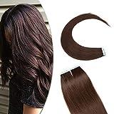 14'(35cm) SEGO Extensiones Adhesivas de Cabello Natural VOLUMEN GRUESO [3g*20PCS] #4 Castaño Chocolate Pelo Humano 100% Remy sin Clip Tape in Hair (60g)