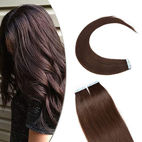 SEGO Extension Adesive Capelli Veri Biadesivo 20 Ciocche Biadesive Evolution Tape Extensions con Naturalezza 60g/Confezione Remy Human Hair (45cm, 4 Marrone Cioccolato)