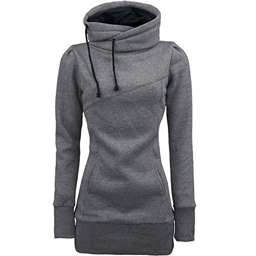 iHENGH Damen Mode Frauen lose Pullover T-Shirt Langarm Bluse(S,Grau)