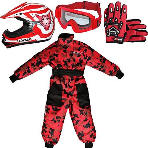 Leopard LEO-X17 Rot Kinder Motocrosshelme Motorradhelm (XL 55cm)+ Handschuhe (XL 8cm) + Brille + Kinder Motocross CAMO Anzug - L (9-10 Jahre alt)