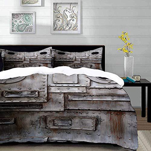 Bedding Juego de Funda de Edredón,Microfibra -Industrial, oxidado, estilizado, hierro, portilla, grunge, rayado, a - Funda de Nórdico y Fundas de Almohada - (Cama 150 x 200cm + Almohada 63X63c