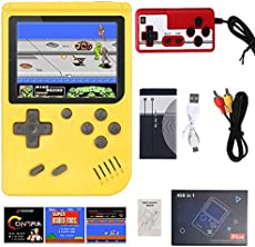 (Single or Two Player) 400 in 1 Mini Handheld Game Console - Retro Mini Game Machine - 800mAh Rechargeable Battery - Support Connecting TV and 2 Controllers - Present for Kids and Adults … (Yellow)