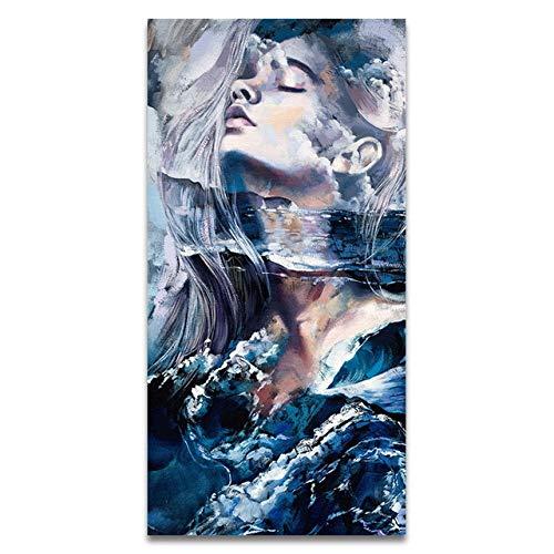 Bunte sexy Blume Frau Leinwand Poster Wandkunst Bild Wandmalerei Wohnzimmer Dekoration 40x80cm