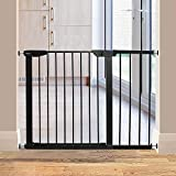 ALLAIBB Walk Through Baby Gate Auto Close Tension White Metal Child Pet Safety Gates with Pressure Mount for Stairs,Doorways and Kitchen (Black, 57.09'-59.84')