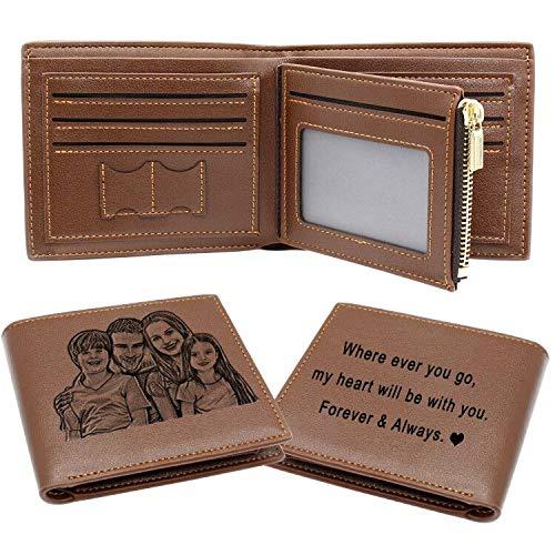 Billetera de Foto Personalizada, Cartera Personalizado para Hombre Papá, Plegable Cuero Monedero