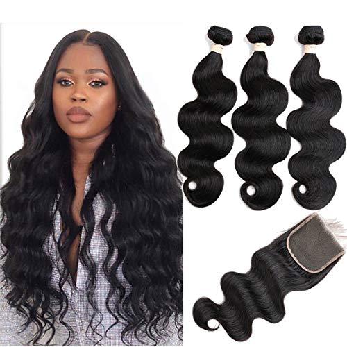 Beauhair Brazilian Body Wave Virgin Hair Bundles with Lace Closure(14 16 18 with14closure)Human Hair Unprocessed Body Wave Hair with Closure 4X4 Lace Free Part Natural Black Hair