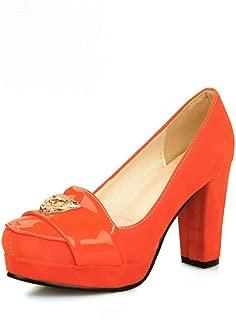 BalaMasa Womens APL11700 Leather Block Heels