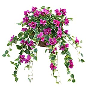 Mynse 2 Pieces Hanging Artificial Bougainvillea Glabra Flowers for Outdoor Decoration
