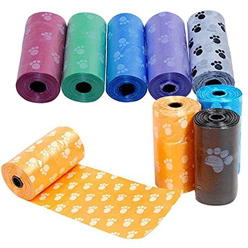 Fliyeong - Bolsas de Basura para Perros, 10 Rollos, 150 Bolsas, a Prueba de Fugas, para Mascotas, Bolsas de Limpieza para Viajes, Caminar, casa, al Azar, duraderas y útiles