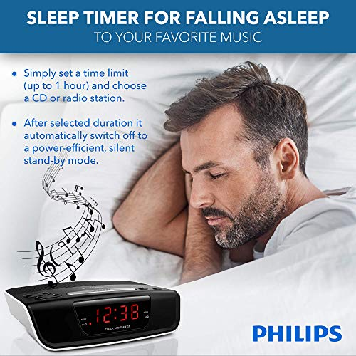 PHILIPS Digital Alarm Clock Radio for Bedroom with FM Radio, LED Display, Easy Snooze, Sleep Timer, Battery Backup (Batteries not Included)