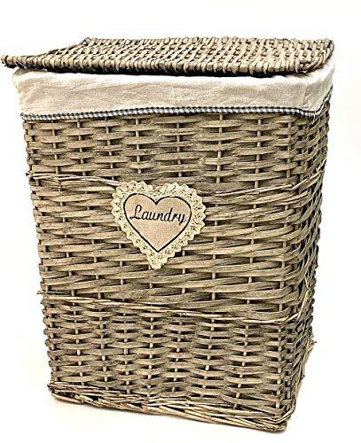 Portabiancheria Vimini 46x35x58h per bucato per arredo casa Bagno Camera Laundry Basket (39x28x51h)