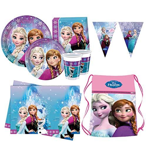 Kit Frozen Addobbi Compleanno Bambini Principesse Disney, Festone Party Decorations, Completo Tavola Accessori e Decorazioni - Tovaglia, Tovaglioli, Bicchieri e Piatti, Gadget Festa Ragazza - Ergogo