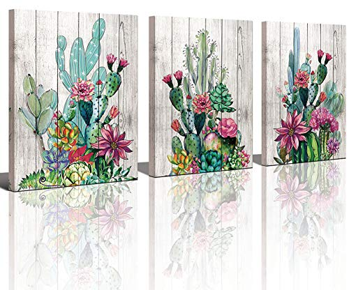 3 Piece Framed Wall Art Watercolor Tropical Plant Desert Cactus Canvas Print for Bedroom Bathroom Spiny Flower Artwork Home Office Wall Decoration 12x16 3 panels Decor