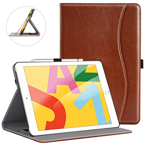 Ztotops Case for iPad 10.2 2019(7th Generation),Premium PU Leather Business Stand Folio Cover,with Pencil Buckle,Multi-angle,Pocket and Auto Wake/Sleep Function for iPad 7th Generation 2019,Brown