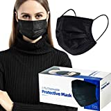 50 Pack Individually Wrapped Disposable Black Face Mask Cover for Adults, Single Use 3 Ply Protectors with Elastic Earloops Cover