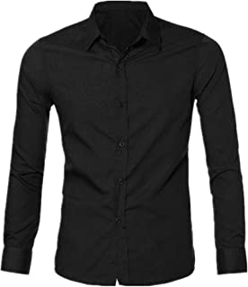 OSTELY Shirts for Men, Luxury Stylish Casual Dress Shirt Slim Fit T-Shirts Casual Long Sleeve Blouse Top