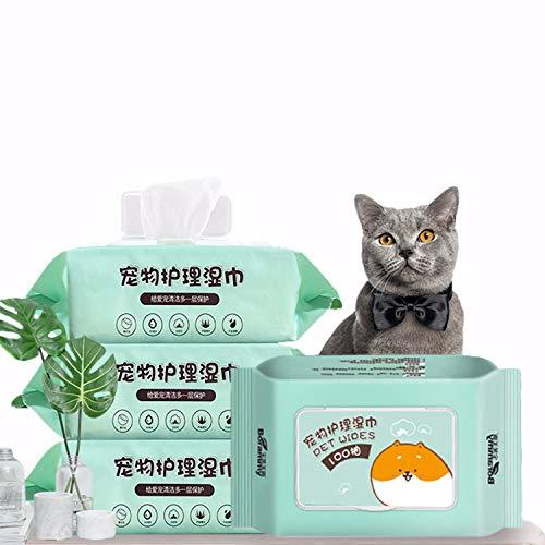 TONG Toallitas Para Perros Y Gatos, Toallitas De Preparación De Mascotas, Toallitas De Cuidado De Mascotas, Efectivas Para Limpiar Los Ojos, El Cuerpo Y Las Patas Para Mascotas (incluyendo 100 Piezas)