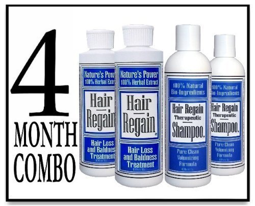 Hair Regain Hair Loss Treatment & Cleansing Shampoo - No Sulfates - 4 Month Combo