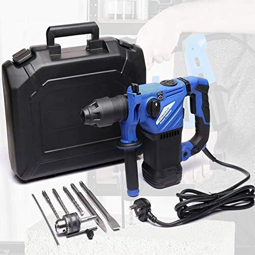 Taladro percutor profesional con cable de 1500 W con brocas SDS Plus y SDS,cincel de perforación de impacto para trabajo pesado,mampostería y demolición,mango de agarre suave ajustable y 3 f