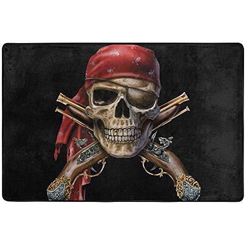 If Not Felpudo Pirata Capitán Calavera Mosquetes Calaveras con Bufanda Alfombra Alfombrillas de Interior para Entrada Alfombra de Puerta Alfombras de área Grande