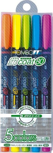 トンボ鉛筆 WA-SC5C 蛍光マーカー 蛍コート80 5色セット おまとめセット【3個】