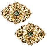 LOVE SHOES Damen 2 Schuhclips Strass gold grün Vintage Style Schmuck Accessoire für Schuhe Schuhschmuck Broschen Tracht