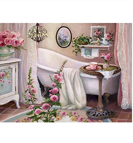 Paint by Numbers voor Senior Junior Beginner Level, Paint by Numbers met penselen Verf en canvas Badkuip patroon Woondecoratie Valentijnsdag geschenk 40x50cm
