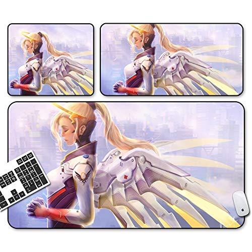 Nologo GEMORE Gaming Mouse Pad, Wacht Mauspad, Mercy Mauspad-Funktions Griffige Gummiunterseite mit abgesteppten Kanten (Size : 60x30x0.2CM)