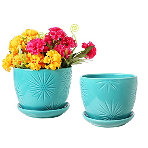 MyGift Set von 2Sunburst Design Keramik Flower Übertopf Töpfe/Dekorative Pflanze Behälter mit Untertassen Art Deco S aqua