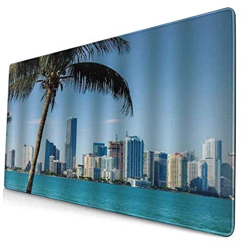 SURERUIM Alfombrilla Raton,El Centro costero de Miami Multicolor con Edificios de la Bahía de Biscayne y Palmeras panorámicas Azul Cielo Verde Agua,Alfombrilla Gaming Alfombrilla para computadora con