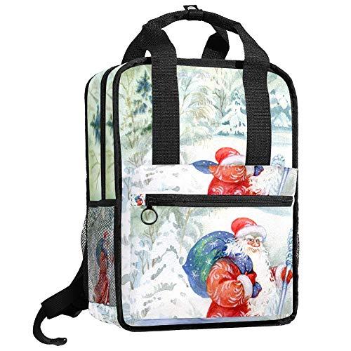 Bonita bolsa de universidad de moda casual mochila de viaje para niñas y adolescentes, Papá Noel está dando regalos