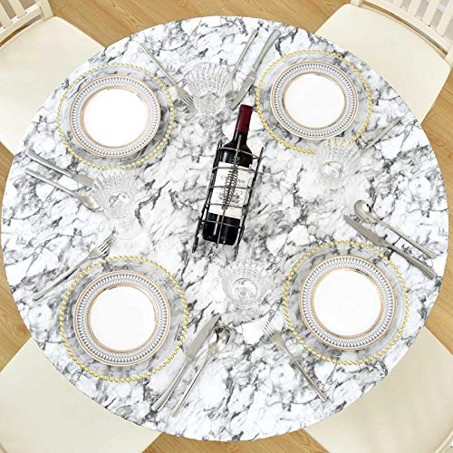 Lifesmells Round Fitted Vinyl Tablecloth Indoor Outdoor Patio,Great for Xmas/Parties/Home,Oil&Waterproof Wipeable,Flannel Backed&Elastic Edge,Classic Marble Light Grey for Table of 36-44' Diameter