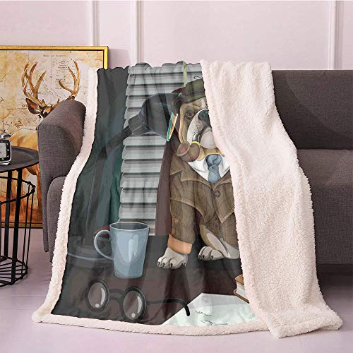 English Bulldog Plush Blanket,Traditional English Detective Dog with a Pipe and Hat Sherlock Holmes Image Light Thermal Blanket,for Sofa Couch Bed Plush Blanket(60x80,Pale Brown)