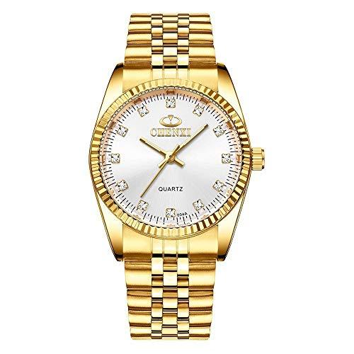 HWCOO Schöne Uhr Golduhr Uhr Business Uhr Quarzuhr Paar Tisch 004A voll Gold IGP Damenuhren (Color : 7)