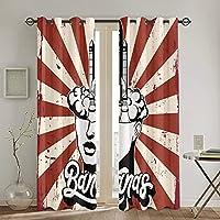 遮光遮熱カーテン,ロケットと女性の頭のベクトル手描きイラスト 寝室 カーテンセット カーテン おしゃれ 断熱 防音 カーテン のある生地 リビングルーム,2枚組 130 x 180CM