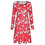 Womens Stylish O Collar Splice Print Long Sleeve Dress Long Christmas Dress Red