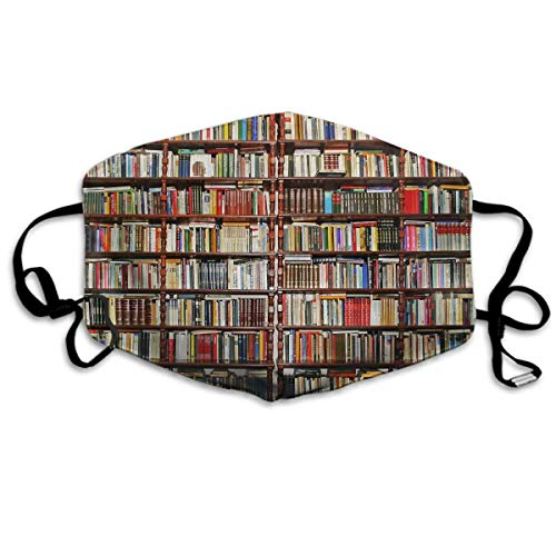 Comfortable Two Layer Dust Mask, Soft Many Book Bookshelf Mask Cover Mouth For Adults And Teens with 10 filter