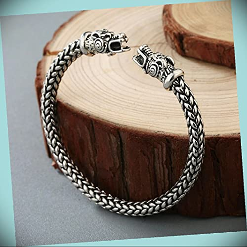 Adjustable Alloy Viking Dragon Cuff With Celtic Spiral Statement Chunky Rhinestone Crystal Bangle Fashion Jewelry Bracelet For Women