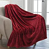 PAVILIA Waffle Textured Fleece Throw Blanket for Couch Sofa, Wine Maroon | Soft Plush Velvet Flannel Blanket for Living Room | Fuzzy Lightweight Microfiber Throw for All Seasons, 50 x 60 Inches