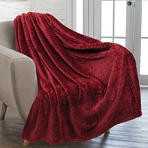 PAVILIA Waffle Textured Fleece Throw Blanket for Couch Sofa, Wine Maroon   Soft Plush Velvet Flannel Blanket for Living Room   Fuzzy Lightweight Microfiber Throw for All Seasons, 50 x 60 Inches