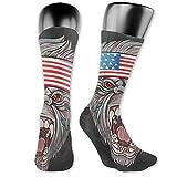 lucies Calcetines de running para hombre Mujer Gorila Head con USA Flag BandaCalcetines de compresión 40cm